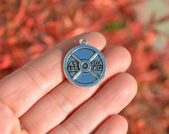 5 Silver Weight Lifting Charms SC4022