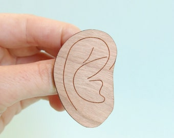 Ear Brooch Wooden
