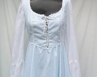 SALE 70s Blue Maxi Dress size Small GUNNE SAX Lace up Bodice Corset Style