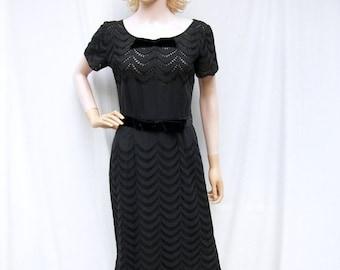 SALE 50s Black Eyelet Wiggle Dress size Small Franklin Original