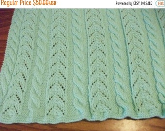 Christmas Pastel Green Cables and Lace Baby Blanket