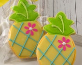 Pineapple Cookies, Luau Party, Hawaiian Party - 12 Decorated Sugar Cookie Favors