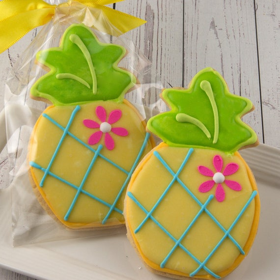 Pineapple Cookies Luau Party Hawaiian Party 12 Decorated