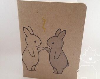 Bunny Pair Notebook - Handmade Blank Pocket Sketchbook