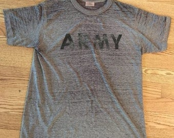 35% OFF SPRING SALE The Vintage 50/50 Iconic Heather Grey Army Athletic Tshirt Tee
