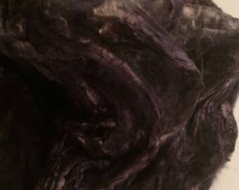 """Mulberry Silk Hankies Hand Dyed """"Black Out"""" 1oz"""