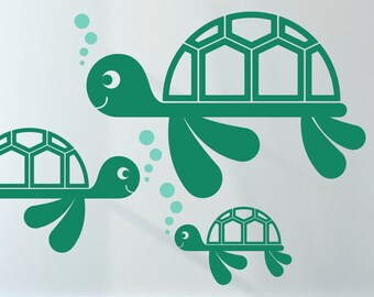 Sea Turtle Wall Decal Cute Baby Nursery Turtle Theme Wall Art Stickers Ocean Underwater Nautical Aquarium Under the Sea Beach Kids Room