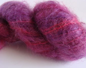 Hand Spun 1 ply  Mohair Yarn - Purple / Magenta Color  - Downsizing SALE  Must Go!