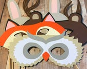 Woodland Photo Booth Prop Sticks- Owl, Antlers, Fox, Rabbit, Bear, Party Props, Animal Masks