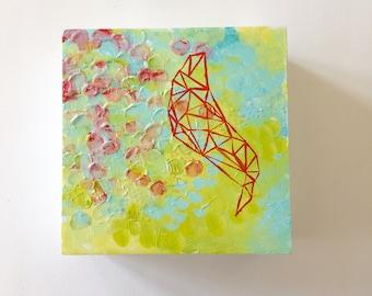 Painting -Joyful Abstract Art Green, Blue, Pink - Original Geometric Acrylic Painting on Wood Panel, Happy Art Decor