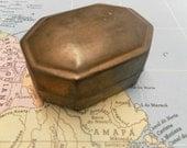 Little Antique Brass Pill/ Jewelry Box