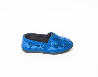 Tiny Sequin | Toddler | Starlight Sapphire Blue Canvas Alpargata Slip On Classics Canvas Shoes