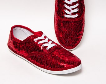 Sequin | CVO Princess Pumps Red Canvas Sneaker Sparkly Tennis Shoes
