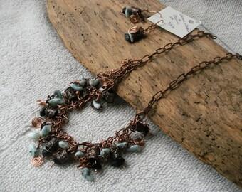 Larimar on Copper Cluster Necklace