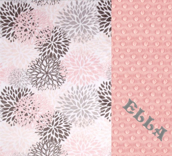 Personalized Baby Blanket / Floral Minky Baby Blanket Girl, Pink Gray Blooms Flowers / Name Blanket / Baby Shower Gift / Baby Girl Blanket