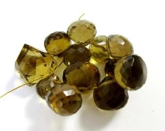 SALE Bear quartz faceted onion briolette- 11 briolette- 8-10mm