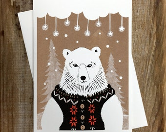 Winter Bear - Greeting Card  Blank Inside Holiday Christmas Solstice Winter Animals