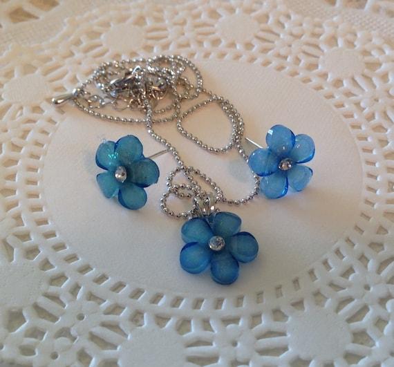 Necklace Earring Set in Blue Flower Pattern Stocking Stuffer Christmas Present