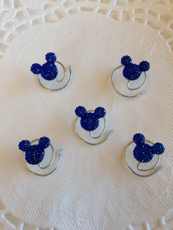 RESERVED for lilbeccaboo06 MOUSE EARS Hair Swirls and Flower Pins for Themed Wedding in Dazzling  Acrylic Colors