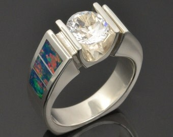Lab Created Opal Ring with White Topaz in Sterling Silver - Lab Opal Engagement Ring- White Topaz Ring- Unique Engagement Ring