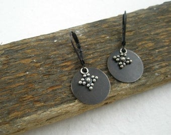Black, Brown and Silver...Mixed Metal Earrings