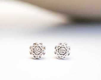 Silver Flower Earrings Silver Studs Posts Rose Spring Nature Inspired Jewelry for Women Gift for Her Simple Sophisticated Everyday Jewelry