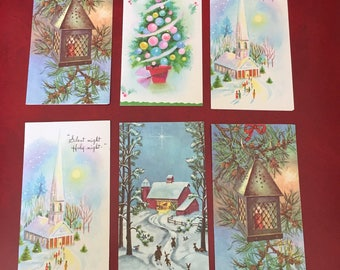 Vintage Set 6 Beautiful Christmas Greeting Cards with Snow, Church, Tree, Village, Forest and more - New Old Stock