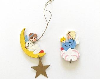 Wooden Angels Erzgebirge Figurines Flat Wooden Christmas Tree Ornaments Crescent Moon Gold Metal Star