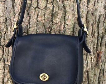 Vintage COACH Black Leather Mini Crossbody Messenger Bag