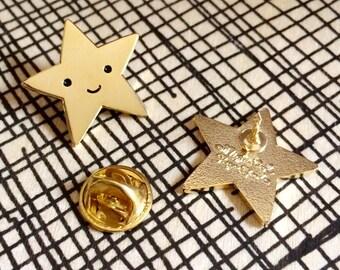 Gold Star Pin - Lapel Pin - Gold Enamel Pin - Kawaii Flair Pin - EP2082