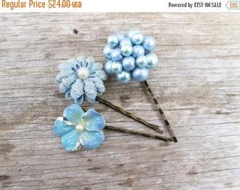 5day Mothers Day 20% SALE Light Blue Vintage Flower Hair Pins Set
