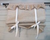 CUSTOM Order for SCARCELLINICOLE Natural Burlap Ruffled Stagecoach Blind Custom Made to Order Tie Up Curtain Swag Balloon