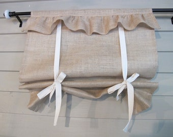Natural Burlap Ruffled 36 Inch Long Stagecoach Blind Custom Made to Order Tie Up Curtain Swag Balloon