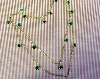 44 Inch Long, 10K Gold Filled, Fancy Bar Chain, Bezel Wrapped, Green Faceted Glass - St Patrick's Day Necklace
