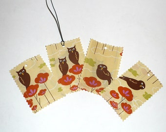 Luggage Tags, Owls, Hot Pink, laminated fabric, Set of 4, SAMPLE SALE, Brown, Orange, Yellow