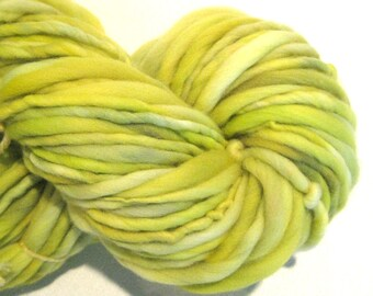 HALF OFF SALE Bulky Handspun Yarn Citronella 100 yards hand dyed wool green yellow yarn waldorf doll hair knitting supplies crochet supplies