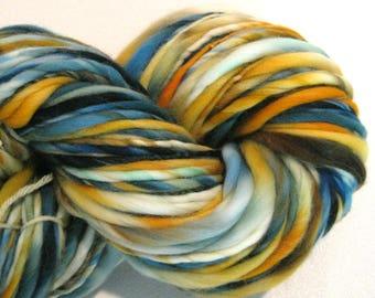Bulky Handspun Yarn Gourds 130 yards hand dyed wool blue gold white yarn merino wool waldorf doll hair knitting supplies crochet supplies