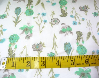 Vintage Cotton Fabric, Over 1 Yard, Green Blue Flowers, Wildflowers, Sewing Supplies, Fabric Remnant, Small Projects, Craft Supplies,Country