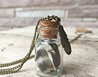 Tiny Feathers in a Jar Necklace - Tiny Glass Terrarium Jar with Bantam Feathers
