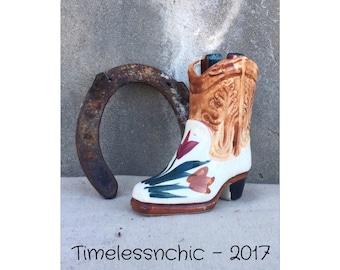 Toothpick Holder - Bud Vase - Q-Tip Holder - Cowgirl Boot - Boot Vase - Vintage Boot - Boot Figurine - Decorative Bud Vase - Rustic Vase