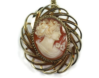 Carved Shell Cameo Brooch Pendant Necklace Retro Vintage 16 Inch Chain