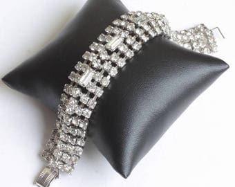 Wide Rhinestone Crystal Bracelet Baguettes Chatons Vintage