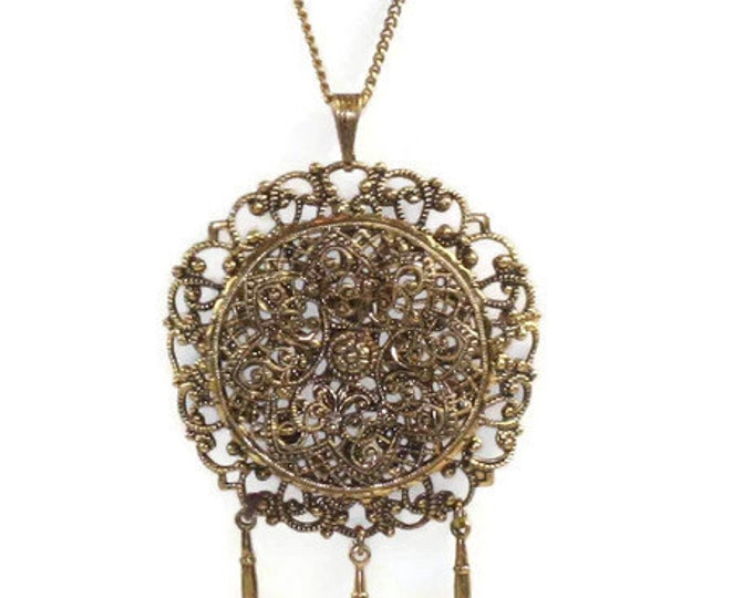Czech Filigree Brass Necklace with Dangles Gold Tone Vintage
