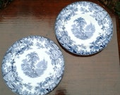 Vintage Blueware Dessert Plates - Allertons Made in England