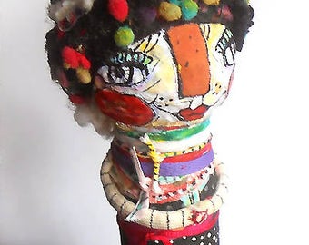 Original art doll  folkart papier mache made and collaged by hand ooak miliaart studio OOAK by miliaart studio