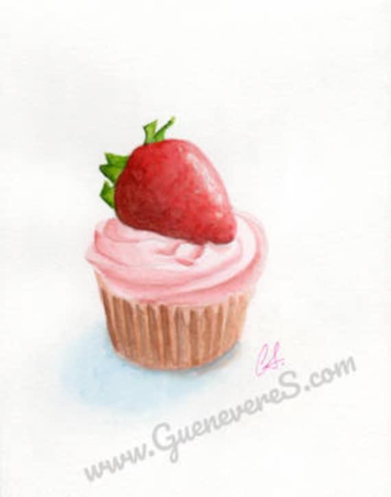 Strawberry Cupcake watercolor original painting