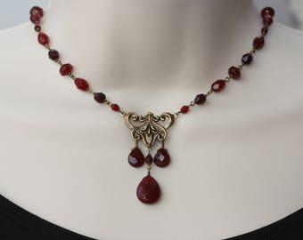Garnet Necklace, Art Nouveau Antique Style, Retro Trend, Vintage Style, Birthday Gift for Wife, Anniversary, Garnet Gems, for Girlfriend