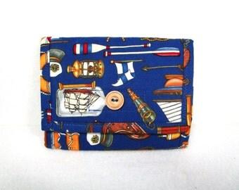 Nautical Ladies Fabric Billfold/Wallet / 11 Pockets / Washable