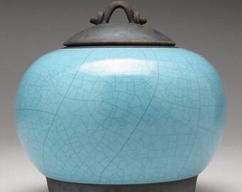 Ceramic jar,Raku  Pottery,Lidded Jar,turquoise blue and black clay jar with lid,Raku Jar, art pottery,covered jar