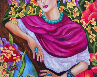Frida Kahlo Print, Frida Kahlo, Art Poster, Mexican art, Frida kahlo poster, Mexican folk art,